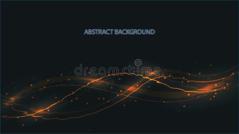 Texture jaune abstraite de fond de belles vagues lumineuses ardentes brûlantes lumineuses numériques magiques de laser des lignes illustration de vecteur