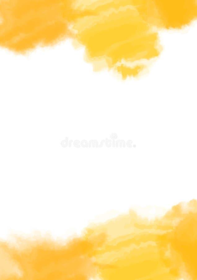 Texture jaune, fond peint à la main abstrait d'aquarelle avec l'espace dans l'intervalle Copyspace Illustration de vecteur illustration de vecteur