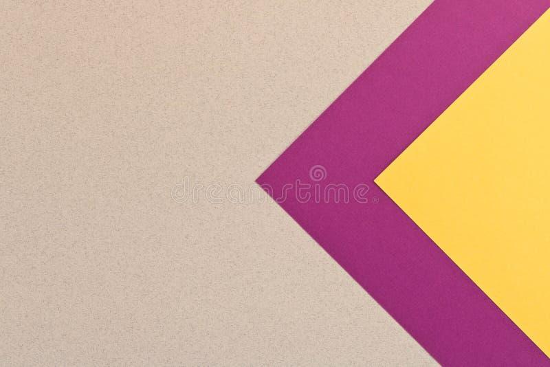 Texture jaune grise pourpre de fond de papier coloré C à la mode images stock