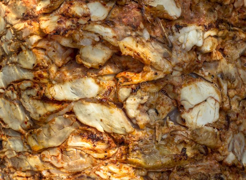 Texture of juicy kebab chicken meat. Cooked meat royalty free stock images