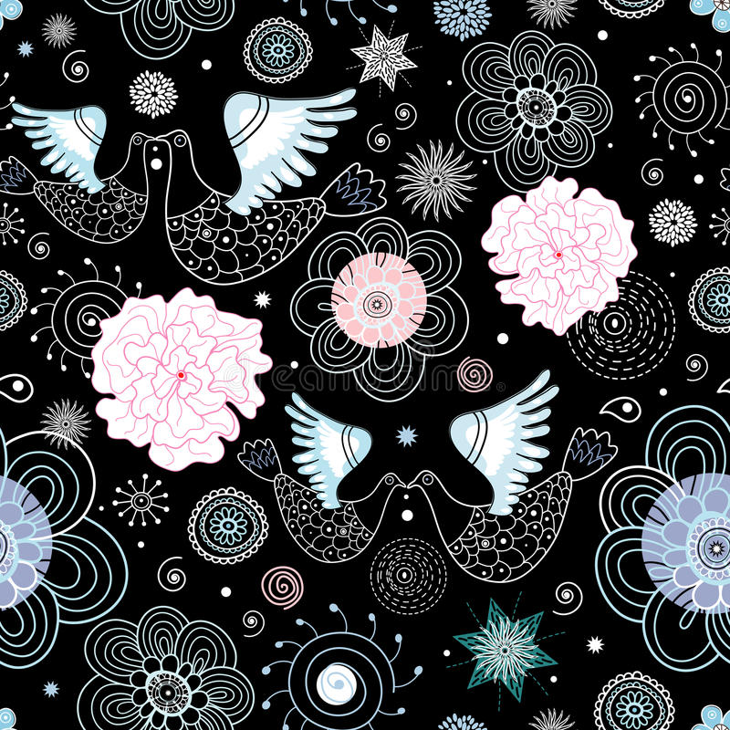 Texture kissing birds. Seamless pattern of kissing the white birds and flowers on a black background royalty free illustration