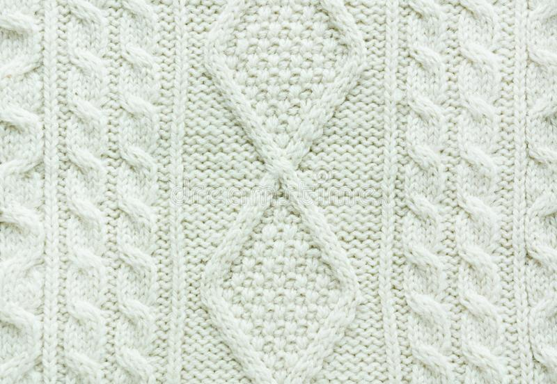 Texture of knitted handmade. Christmas white sweater close up. Wallpaper, abstract background. Texture of knitted handmade. Christmas white sweater close up royalty free stock photo