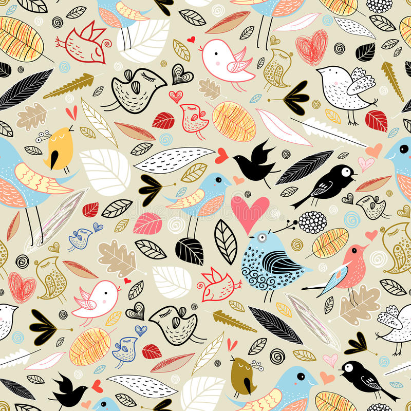 Texture of the leaves and birds stock illustration