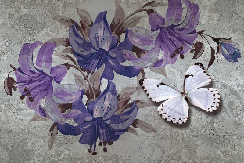 texture, lis et papillons du papier peint 3d sur le fond de mur en béton Effet de peintures murales illustration de vecteur