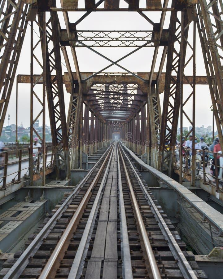 Texture in the Long Bien rail bridge, Vietnam royalty free stock image