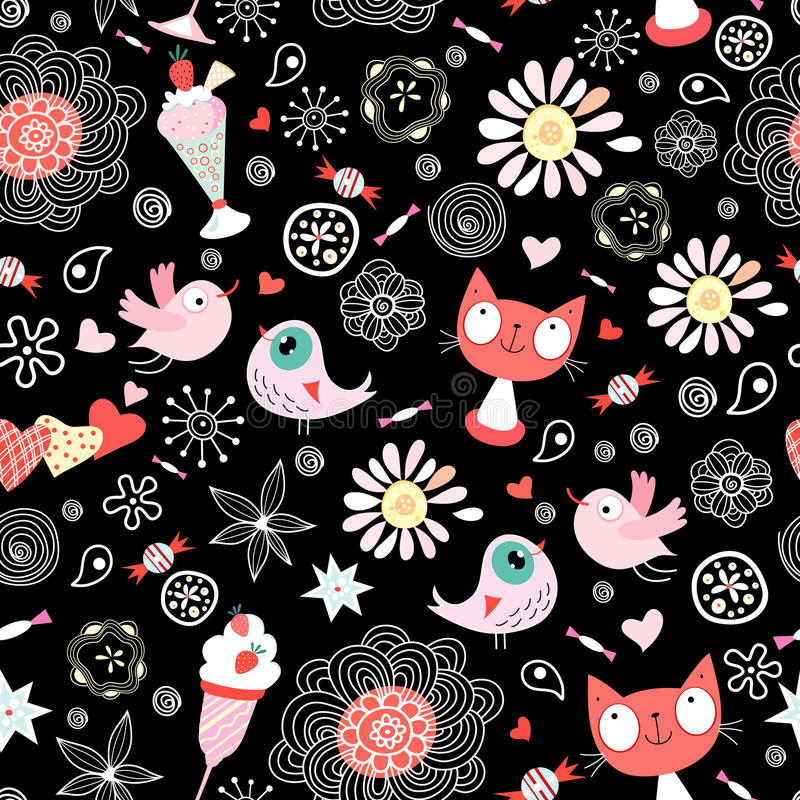 Texture love cats and birds royalty free stock photo