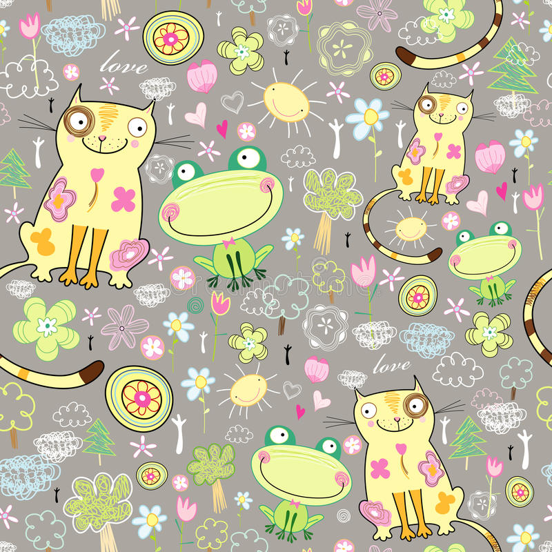 Texture of the love of cats and frogs. Seamless pattern of lovers of cats and frogs on a dark background with trees and flowers