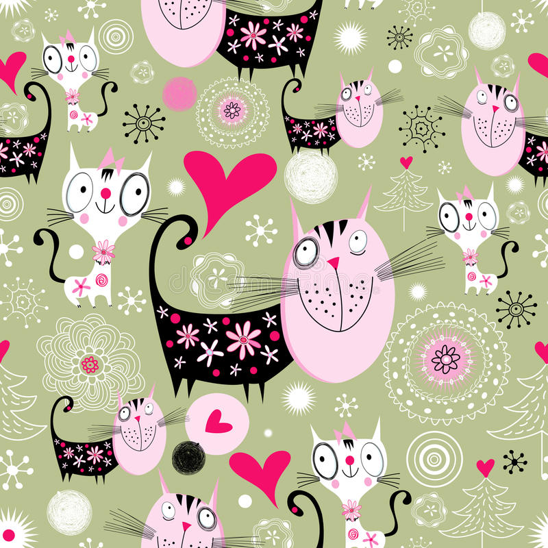 Download Texture with lovers cats stock vector. Illustration of nature - 27443564