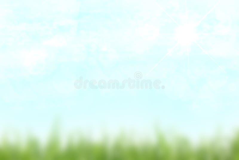 Texture lumineuse abstraite de ressort ou de paysage d'été avec un ciel ensoleillé bleu-clair et avec légèrement nuageux Bel auto photo stock