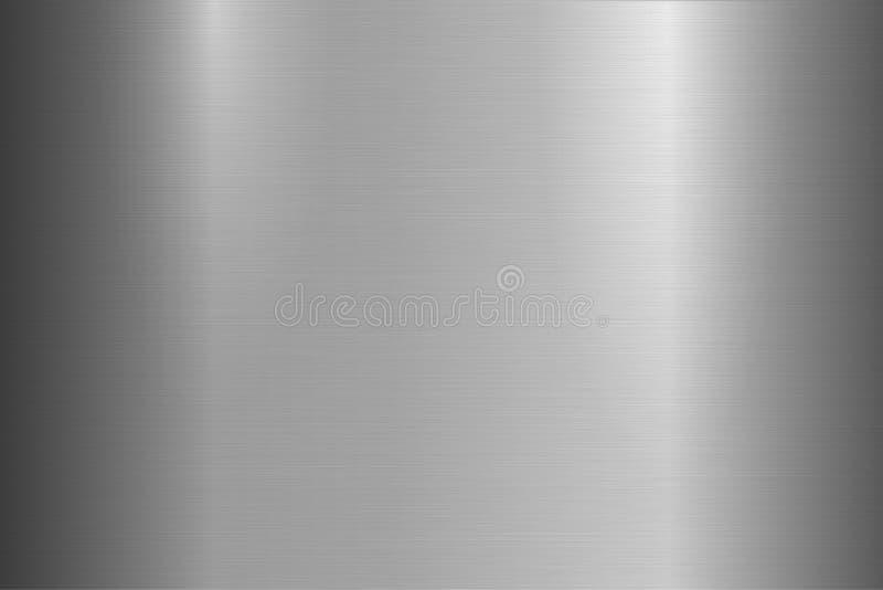 Texture métallique balayée lumineuse, fond Surface métallique polie brillante Conception réaliste de plan rapproché de vecteur illustration stock