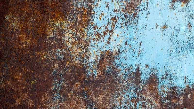 Texture métallique rouillée Oxydation du métal Grunge, steampunk, rock, vintage Fond de fer, marron, rouge et bleu images stock