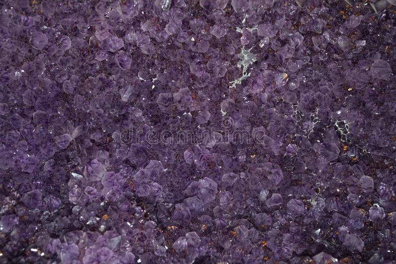 Texture made of amethyst many Chrystal, closeup.  stock images