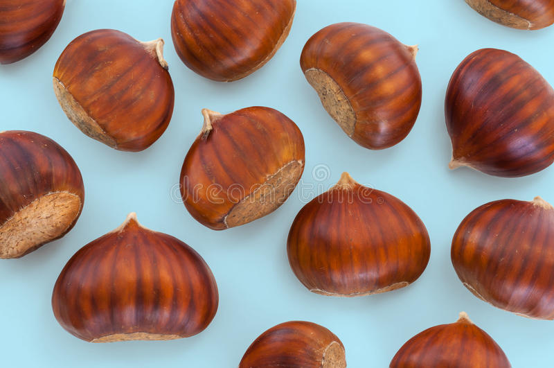 Texture of many chestnuts stock images