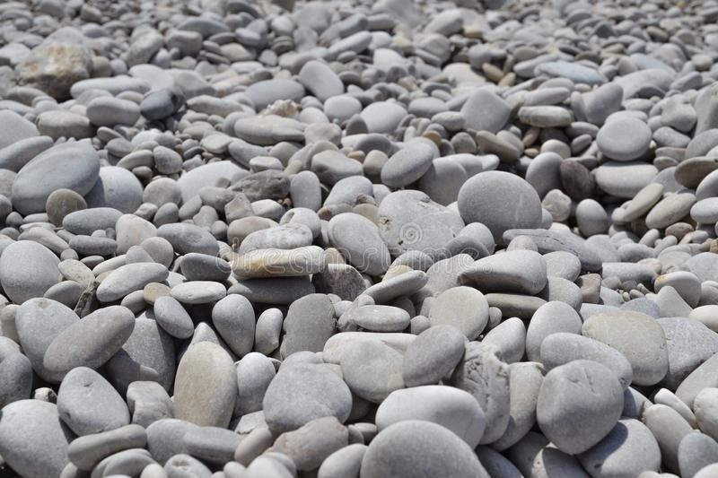Texture of many multicolored beautiful round and oval smooth natural stones, pebbles. The background stock photography
