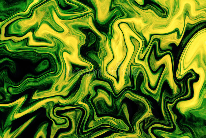 Texture marbrée vert clair Fond jaune de mélange de couleur verte photographie stock