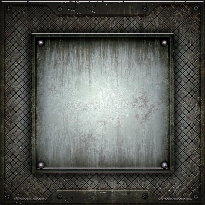 Texture of metal. There is a place for the inscription stock illustration