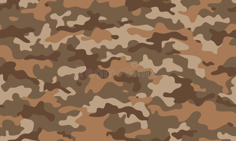 Texture military camouflage repeats seamless army brown black beige mud sand hunting. Print vector illustration
