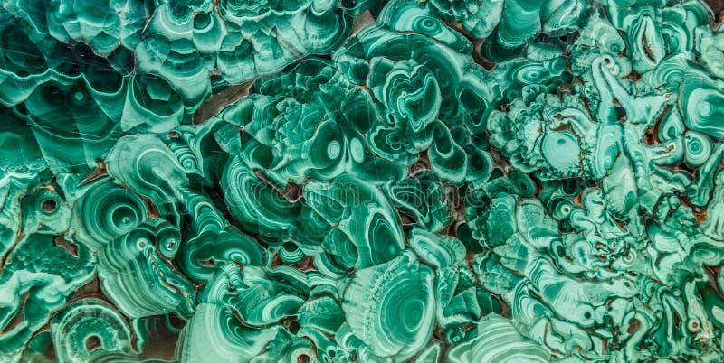Texture minérale verte de pierre gemme de malachite, fond de malachite, fond vert Dalle naturelle polie stupéfiante de vert images libres de droits