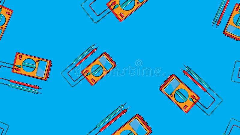 Texture, mod?le sans couture des instruments rouges et jaunes pour mesurer la force et la tension d'un courant ?lectrique illustration stock