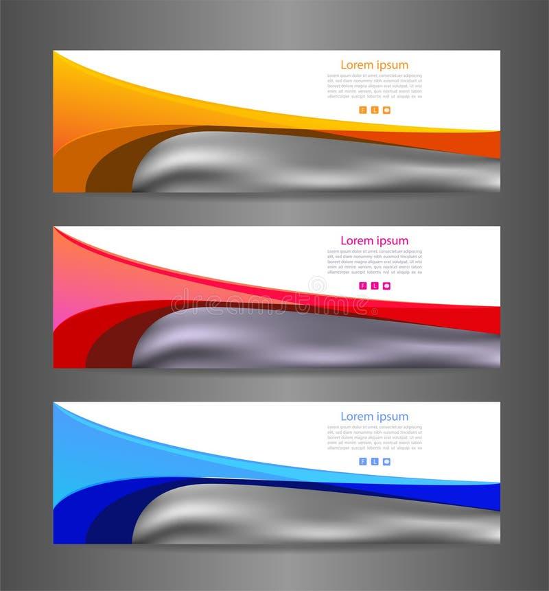 Texture moderne abstraite colorée de bannière de l'ensemble trois Drapeau de vecteur illustration libre de droits