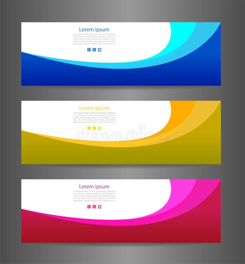 Texture moderne abstraite colorée de bannière de l'ensemble trois Drapeau de vecteur illustration de vecteur