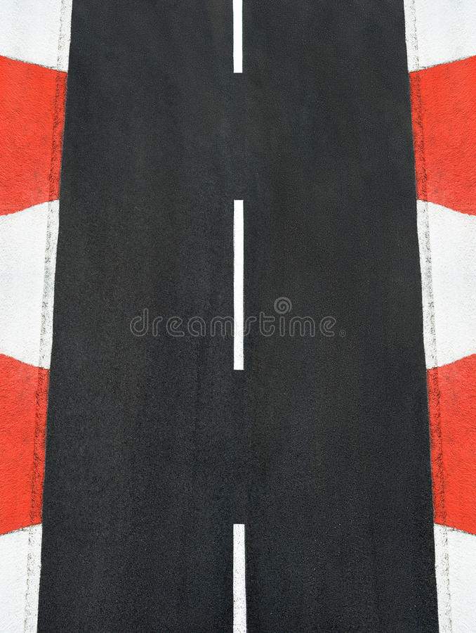 Texture of motor race asphalt and curb Grand Prix track royalty free stock image