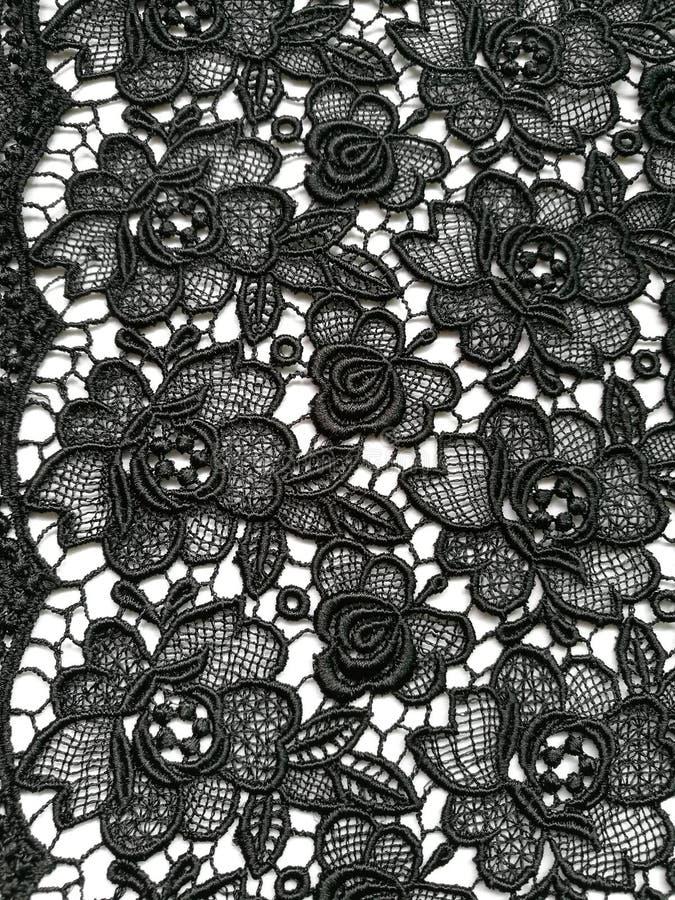 Texture noire florale de dentelle photos stock