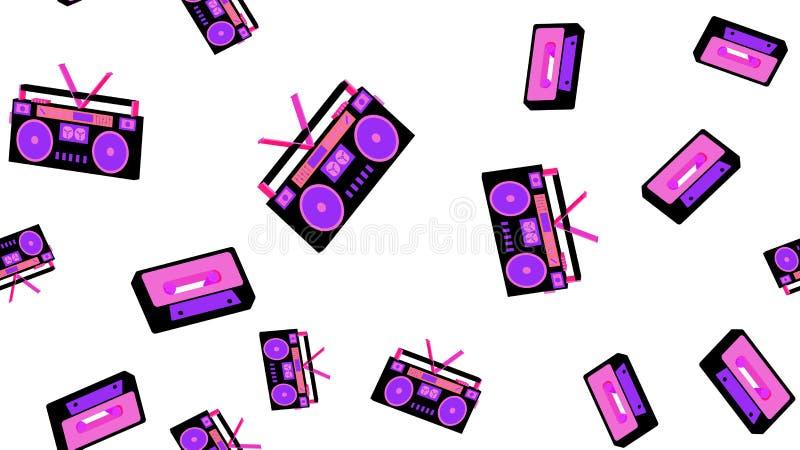 Texture o teste padrão sem emenda do gravador velho do vintage para escutar cassetes áudio 70 do ` s, 80 ` s, 90 ` s O fundo ilustração royalty free