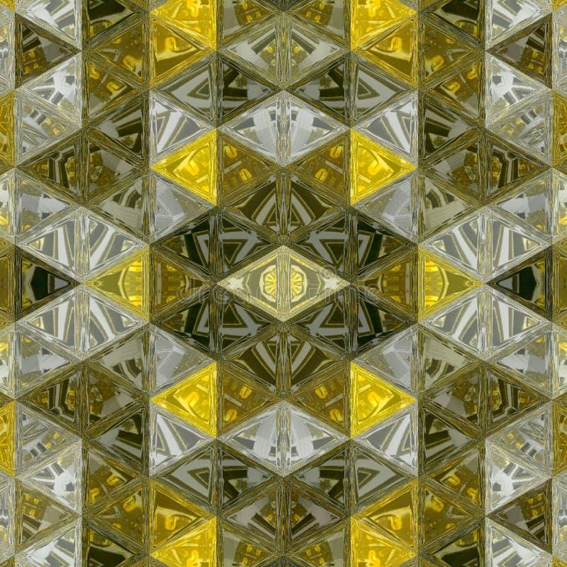 Texture ocre et jaune foncée de modèle de fond, lignes de triangle avec l'effet en verre souillé Concept moderne du graphique 3d images stock