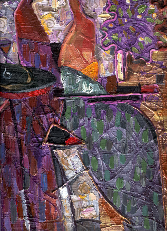 Texture of oil painting. author painting Roman Nogin. series `Women`s talk.`. The texture of oil painting. author painting Roman Nogin. series `Women`s talk stock image