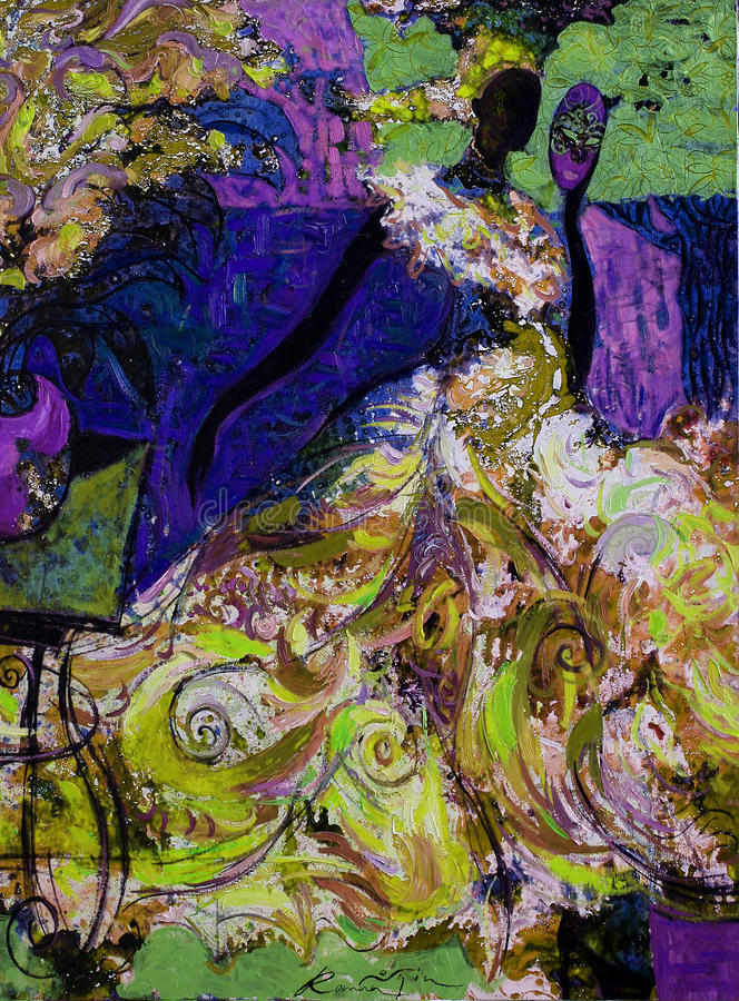 Texture oil painting. author Roman Nogin, series `Women`s talk.` , Author`s version of color. Texture, oil painting, author Roman Nogin, series `Women`s talk royalty free stock images