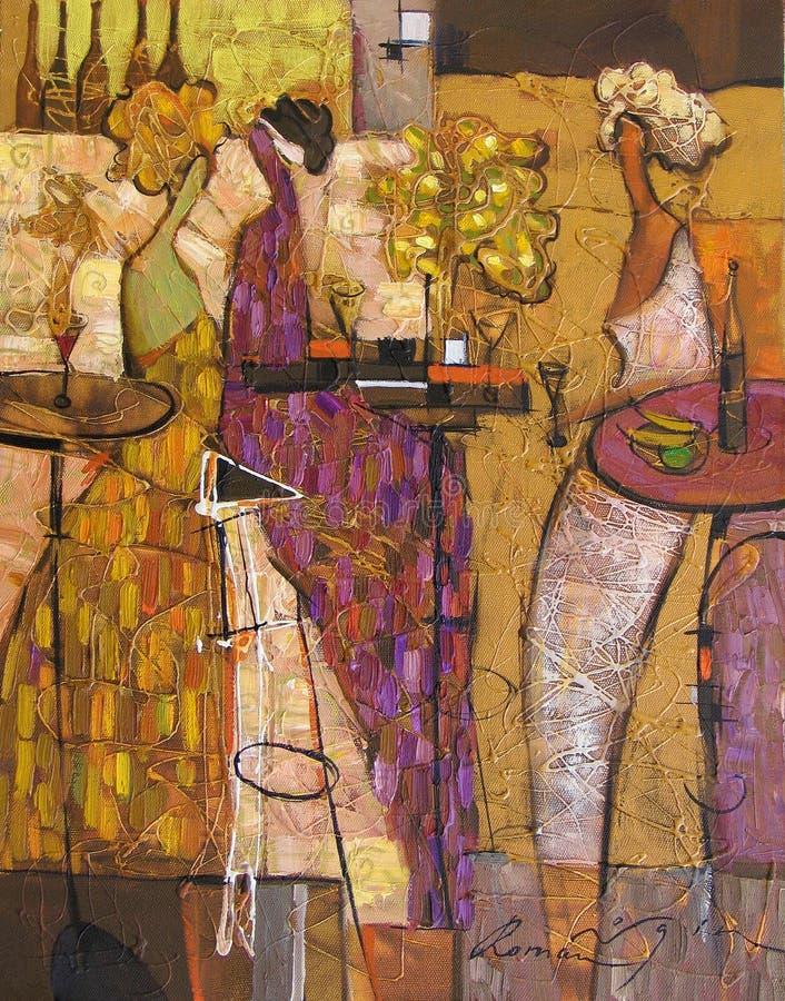 Texture oil painting. author Roman Nogin, series `Women`s talk.` , Author`s version of color. Texture, oil painting, author Roman Nogin, series `Women`s talk stock image
