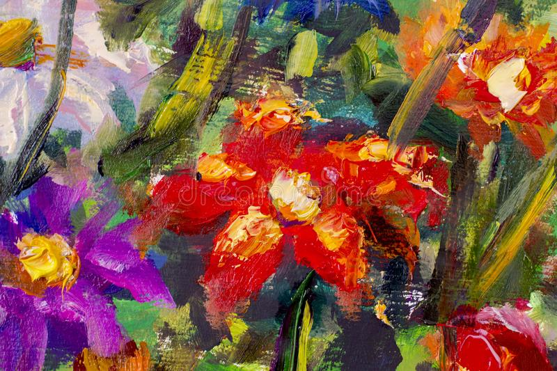 Big Texture Flowers  Close Up Fragment Of Oil Painting Artistic