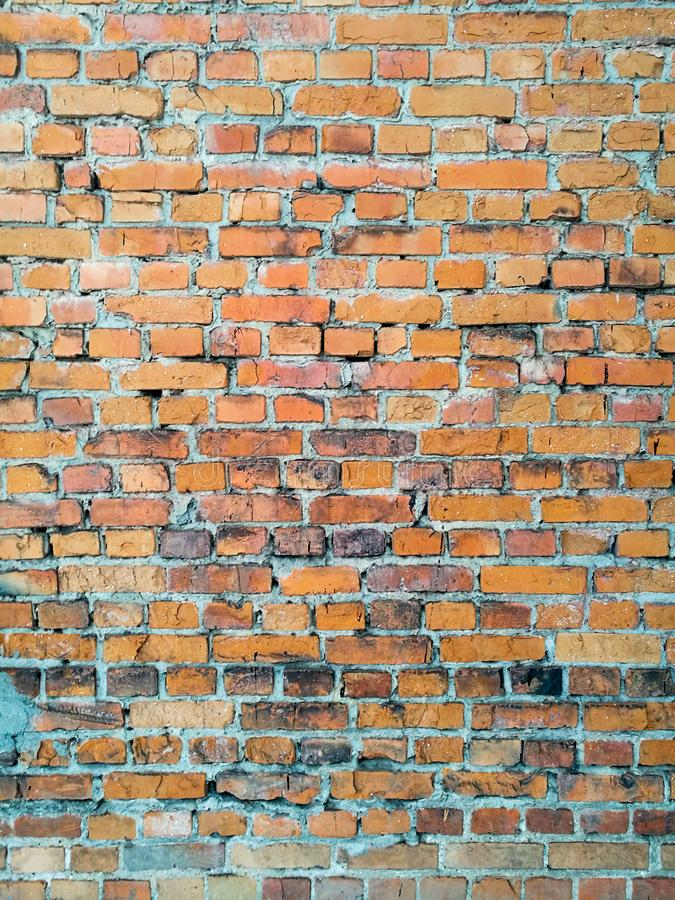 The texture of the old, brick, post-apocalyptic wall in the style of a Stalker royalty free stock photo