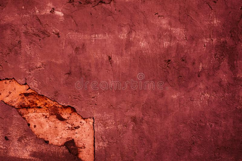 Texture of old burgundy decorative plaster. Abstract background for design royalty free stock photos
