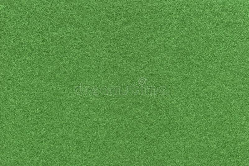Texture of old dark green paper background, closeup. Structure of dense moss cardboard royalty free stock image