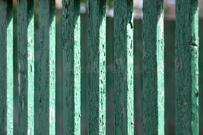 Texture of an old green fence. From a fence close up royalty free stock photography