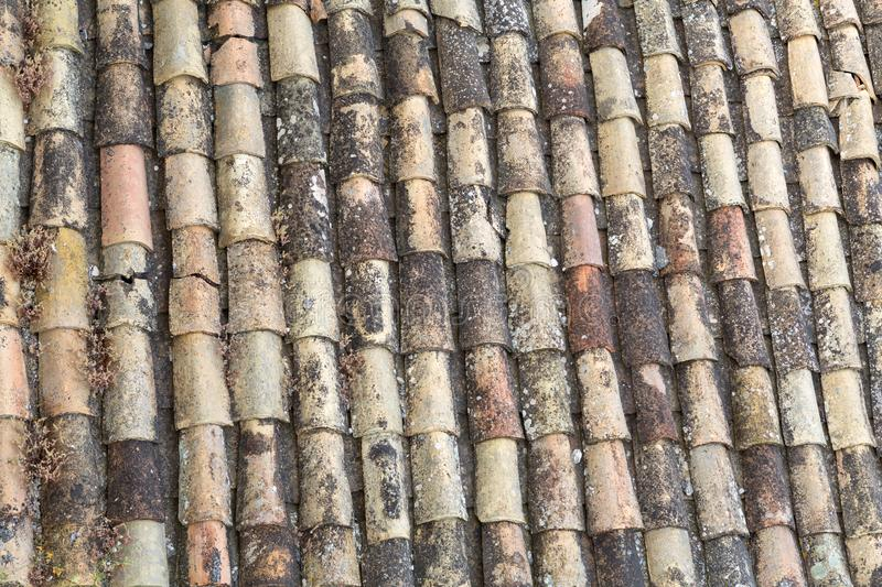 Texture of old roof tiles stock photos