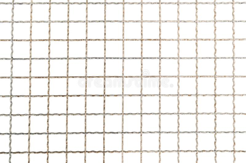 Texture of old steel cage with rusty on white background with clipping path royalty free stock photo