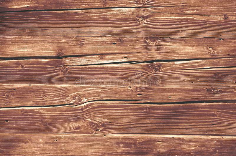 Cracked knotted wood board texture, wood grain royalty free stock image