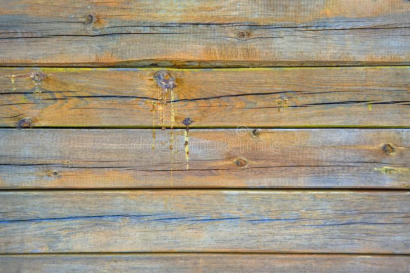 Texture of old wooden boards covered with cracks and drips of resin. Natural background. Wooden texture background, old wood stock photos