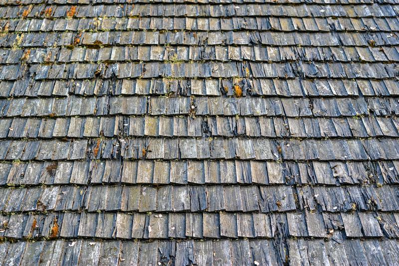 Texture of old wooden spill or wooden tile on a roof for a background. Abstract and rough texture of the old weathered wooden spill or a wooden tile on a roof stock images