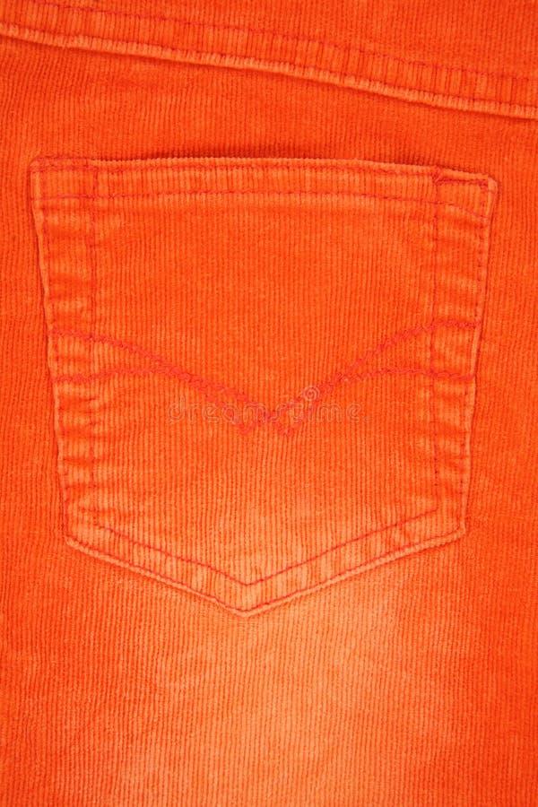 Texture orange de poche de jeans photo stock