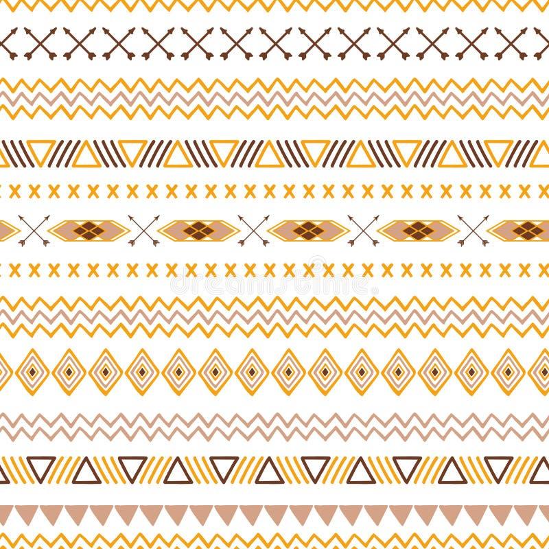 Texture ornementale mexicaine modèle de fond aztèque ethnique tribal sans couture d'abrégé sur dans le vecteur brun de couleurs d illustration libre de droits