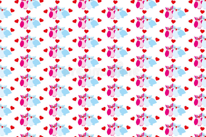 Texture with owls and hearts. Pattern for kids fabric stock illustration