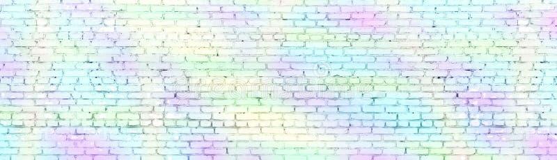 Texture panoramique large peinte de mur de briques minable Vieux panorama coloré en pastel de brique Long fond clair illustration de vecteur