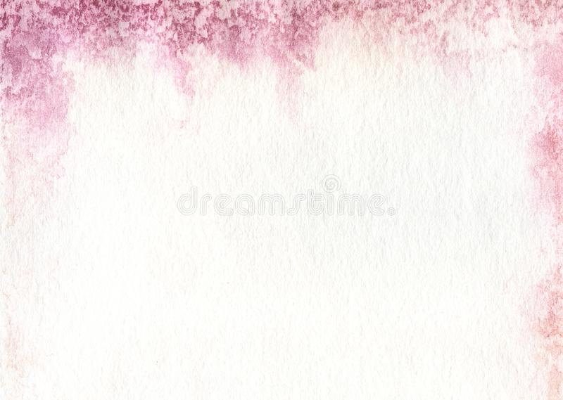 Texture of paper impregnated on the top with a pink watercolor p royalty free illustration