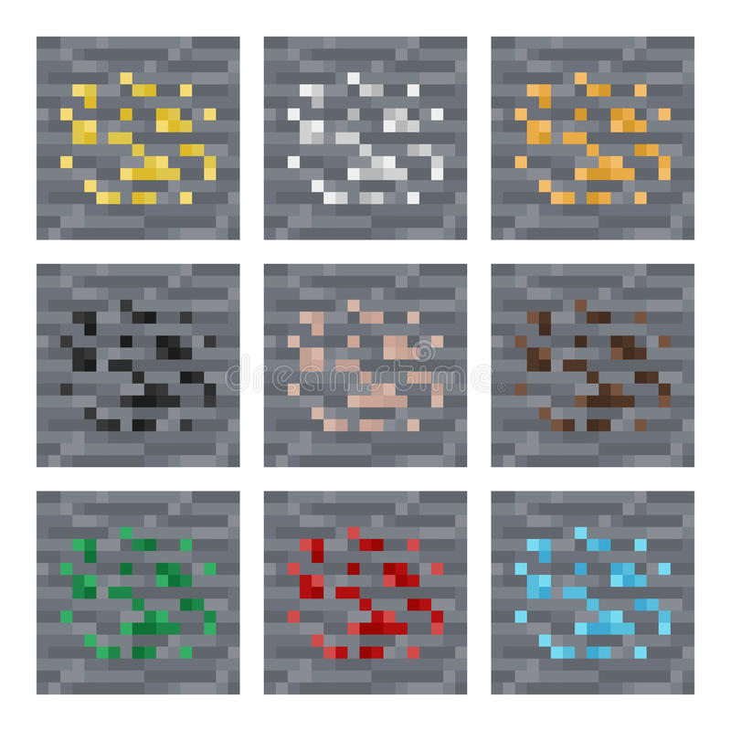 Texture para o vetor da arte do pixel dos platformers: apedreje blocos minerais do minério: prata, ouro, carvão, gema, ferro ilustração do vetor