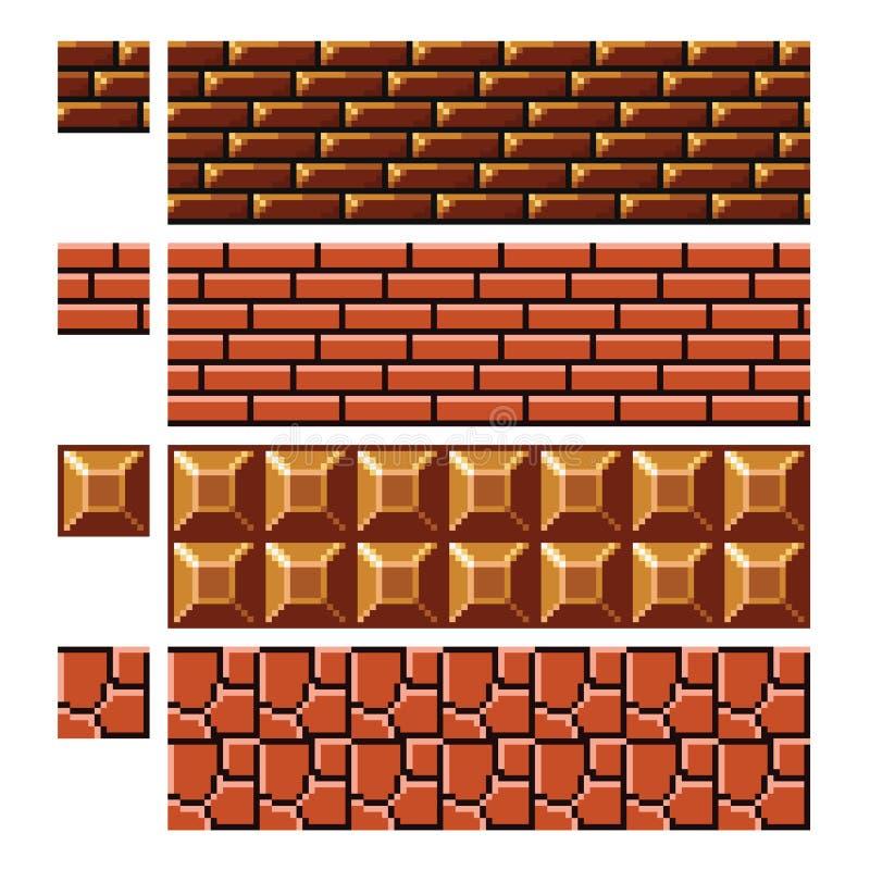 Texture para o vetor da arte do pixel dos platformers - parede de pedra do tijolo ilustração stock