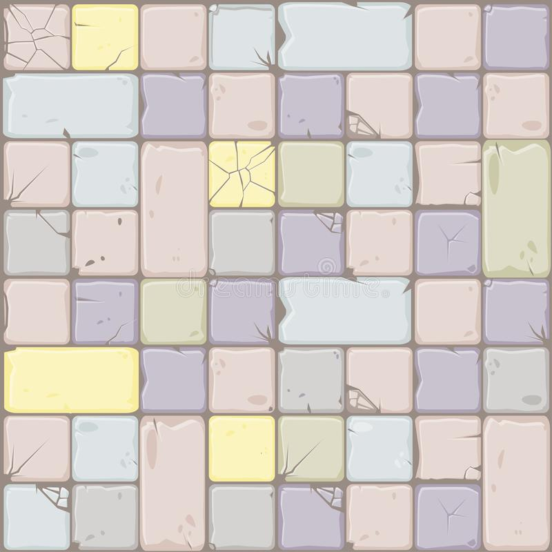 Texture of pastel colors stone tiles, seamless background stone wall. Vector illustration for user interface of the game. Texture of pastel colors stone tiles vector illustration